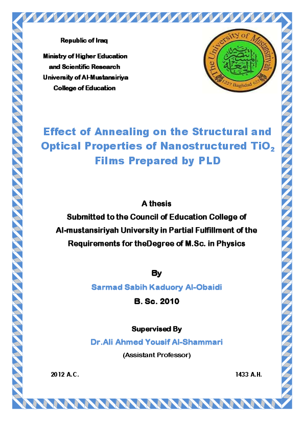 PDF) Effect of Annealing on the Structural and Optical