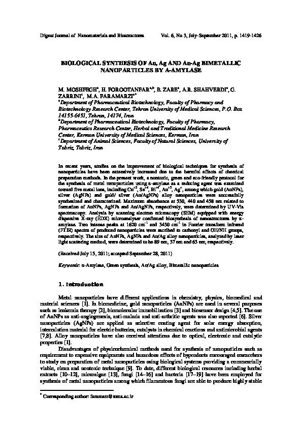 PDF) Biological synthesis of Au-Ag and Au-Ag