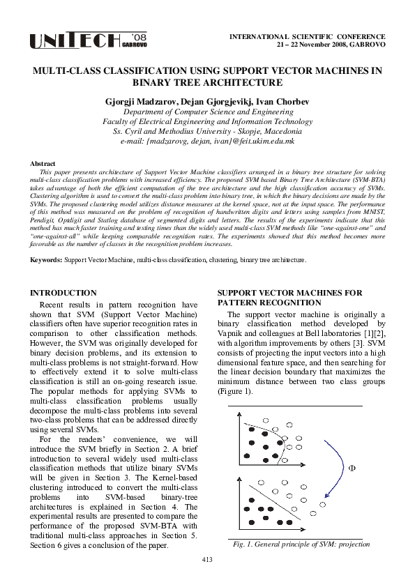 PDF) Multi-class Classification using Support Vector Machines in