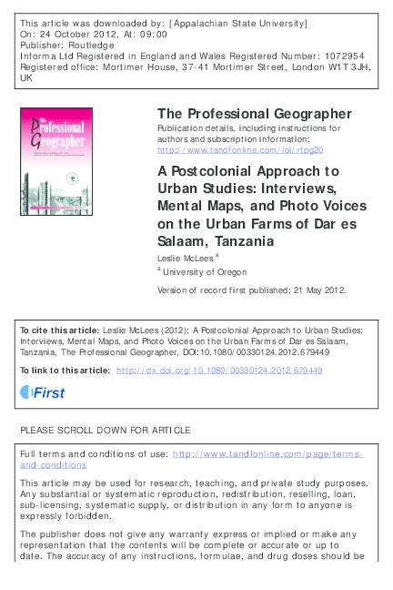 PDF) A postcolonial approach to urban studies: Interviews