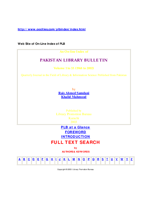 PDF) On-Line Index of Pakistan Library Bulletin | Dr  Rais Samdani
