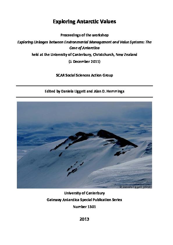 Pdf Exploring Antarctic Values Daniela Liggett Academia Edu