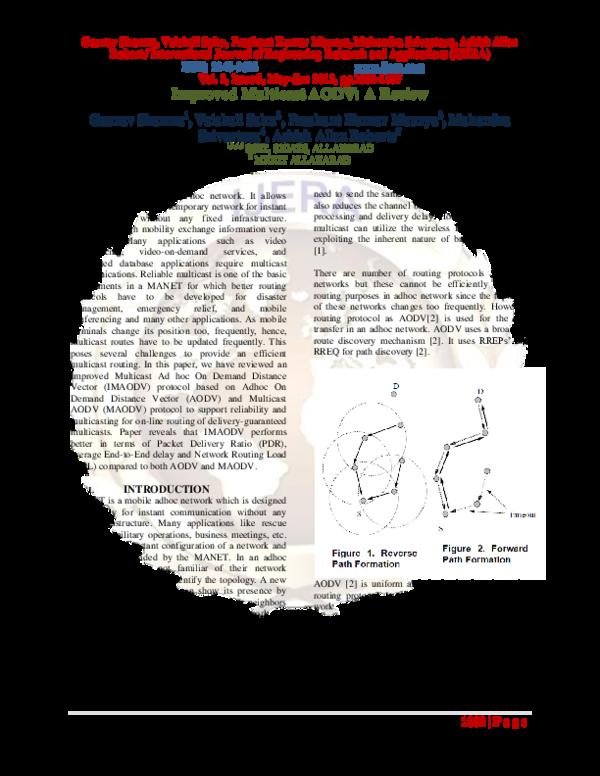 PDF) Improved Multicast AODV: A Review   Ashish Roberts - Academia edu