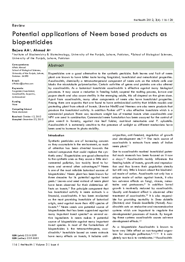 PDF) Potential applications of Neem based products as