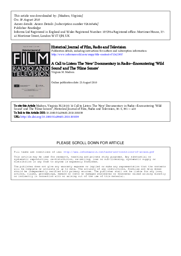 Pdf A Call To Listen The New Documentary In Radio Encountering Wild Sound And The Filme Sonore Historical Journal Of Film Radio And Television Vol 30 No 3 Sept 2010 Pp391 410 Virginia