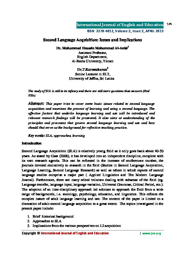second language acquisition journal pdf