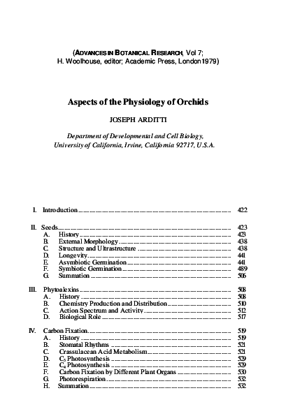 PDF) Aspects of the physiology of orchids | Joseph Arditti