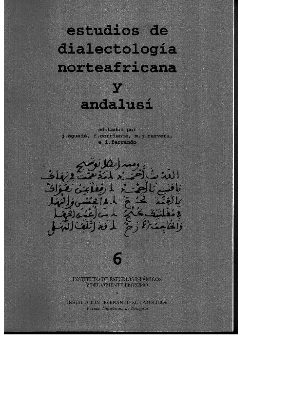 fa8750f7b8d8 PDF) Estudios de dialectología norteafricana y andalusí