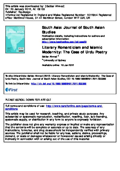 "PDF) ""Literary Romanticism and Islamic Modernity: The Case"