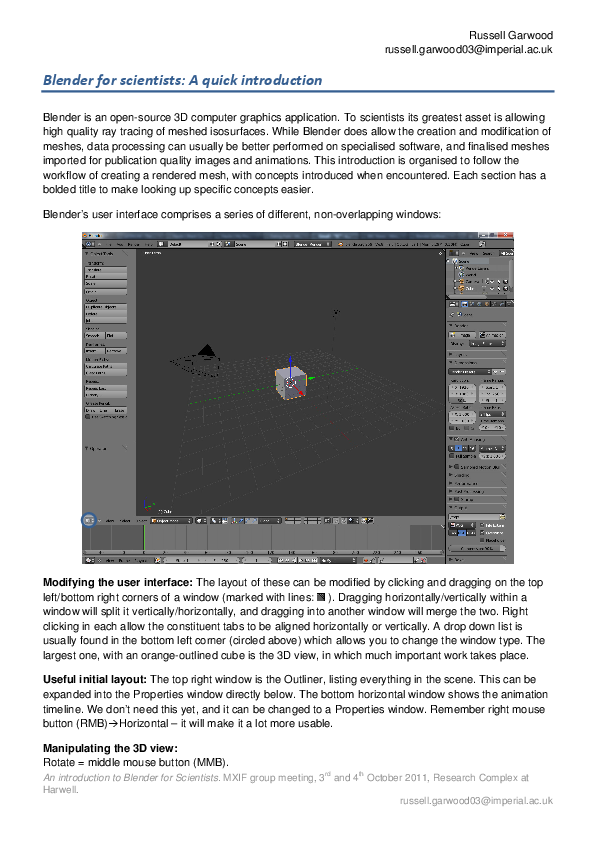 PDF) Blender for scientists: A quick introduction  | Russell