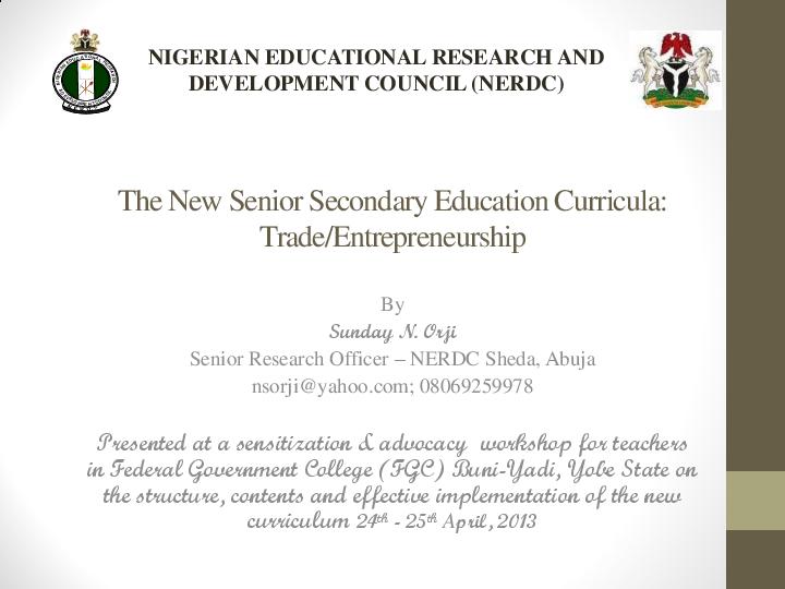 PDF) The Trade/Entrepreneurship Curriculum for Nigeria Senior