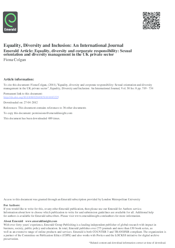 Sexual orientation journal articles