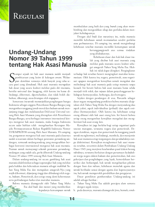 Kewajiban Asasi Manusia Uu No 39 Tahun 1999 - Tentang Tahun