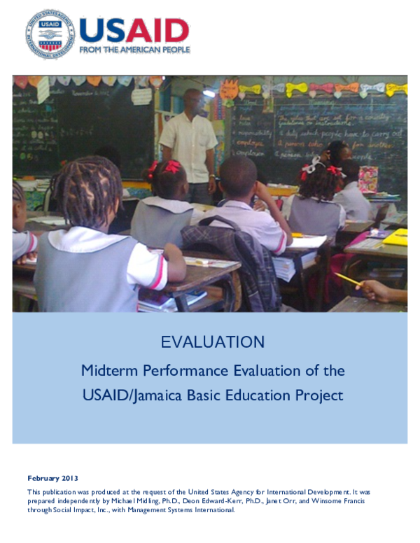 PDF) Midterm Performance Evaluation of the USAID/Jamaica Basic