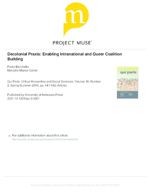 PDF) Decolonial Praxis: Enabling Intranational and Queer Coalition