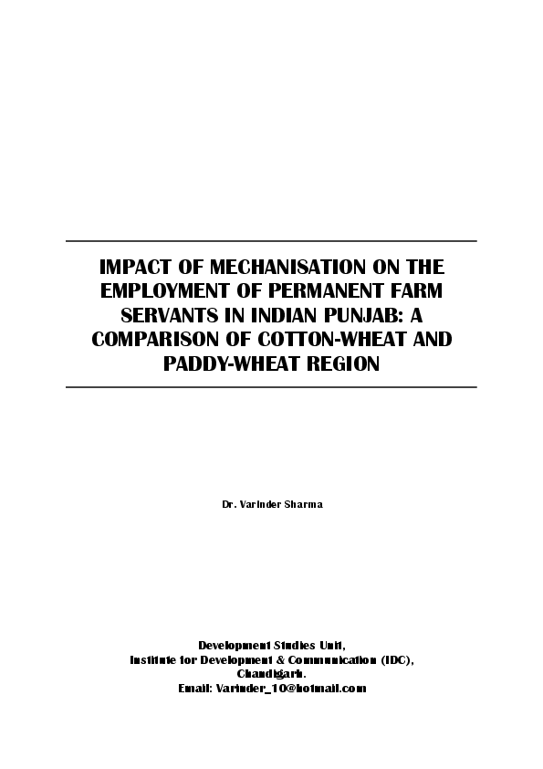 PDF) Impact of Mechanisation on the Employment of Permanent Farm