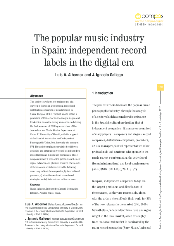 The popular music Industry in Spain: independent record labels in