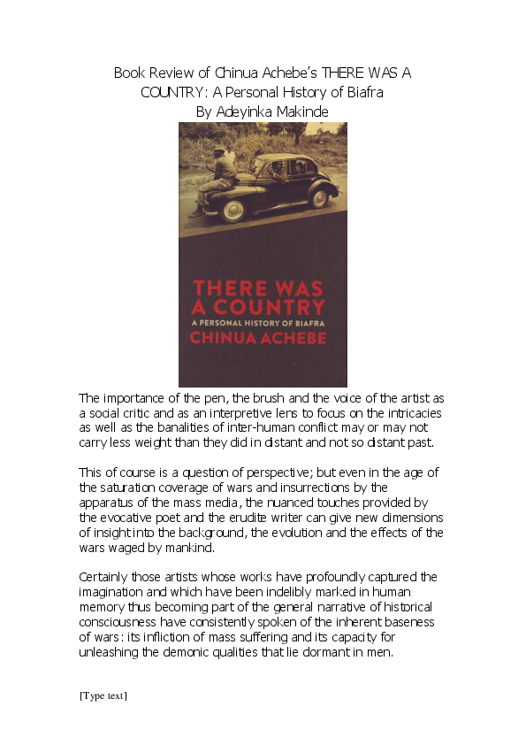 The Book There Was A Country By Chinua Achebe