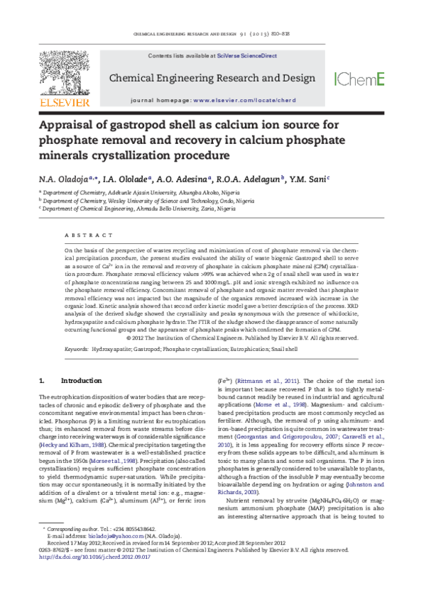 Pdf Appraisal Of Gastropod Shell As Calcium Ion Source For Phosphate Removal And Recovery In Calcium Phosphate Minerals Crystallization Procedure Yahya Muhammad Sani Academia Edu