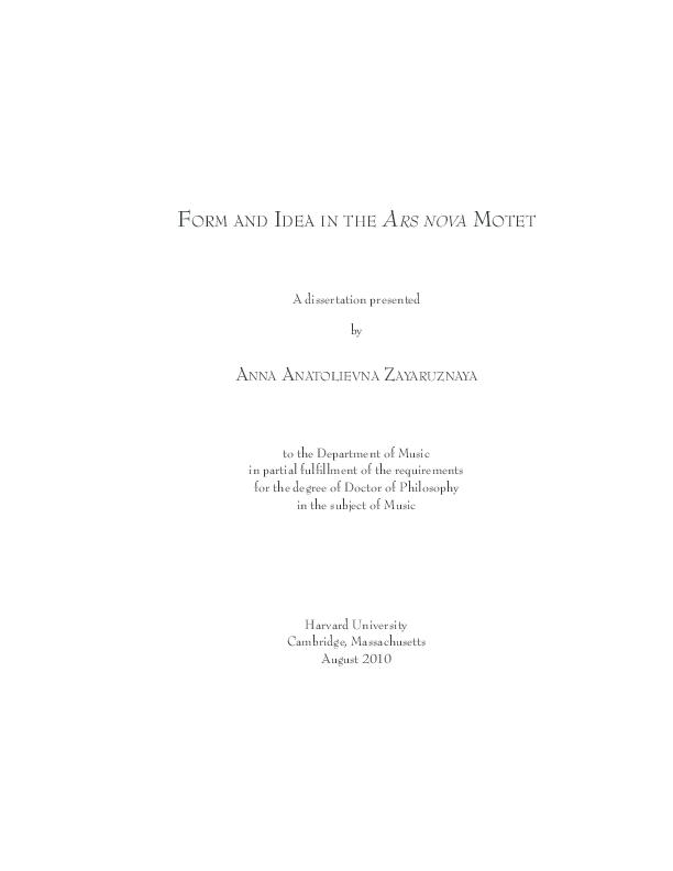 Pdf Form And Idea In The Ars Nova Motet Anna Zayaruznaya Academia Edu
