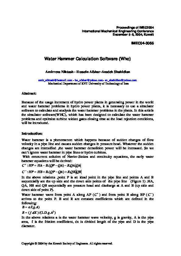 PDF) Water Hammer Calculation Software (Whc)   Hossein Afshar