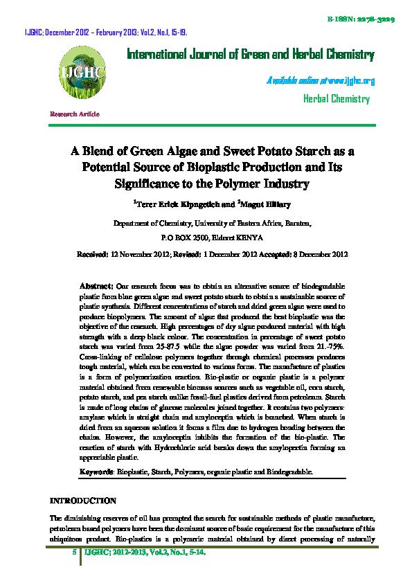 PDF) International Journal of Green Herbal Chemistry | ERICK