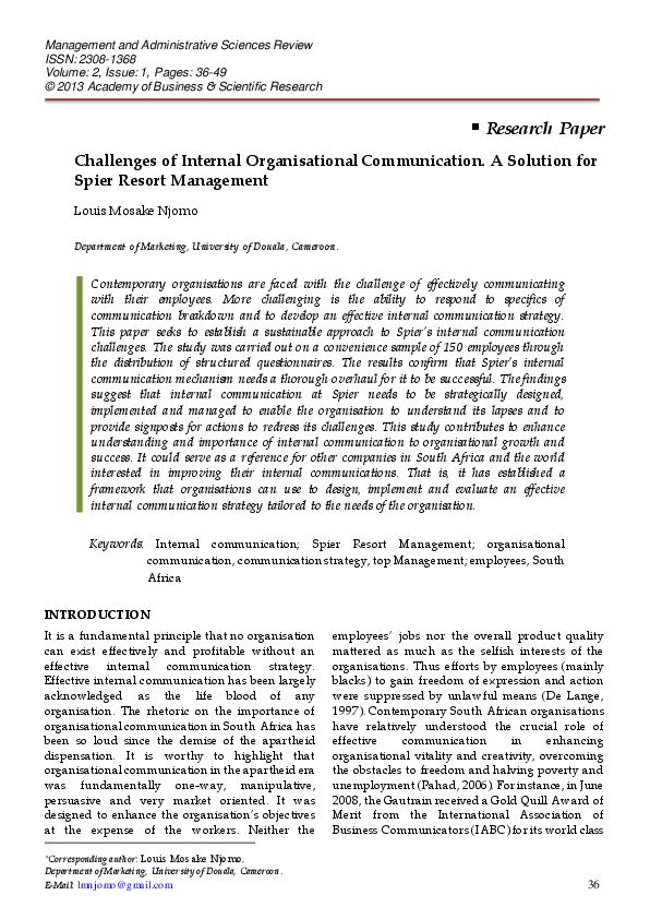 communication management research paper