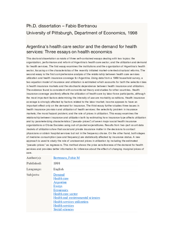 Essay On Healthy Eating  High School Sample Essay also Essay Writing Examples For High School Pdf Argentinas Health Care Sector And The Demand For  Essay On High School