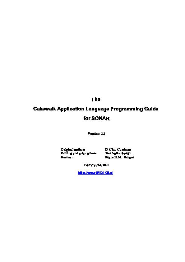 PDF) Cakewalk Application Language Programming Guide | Osman