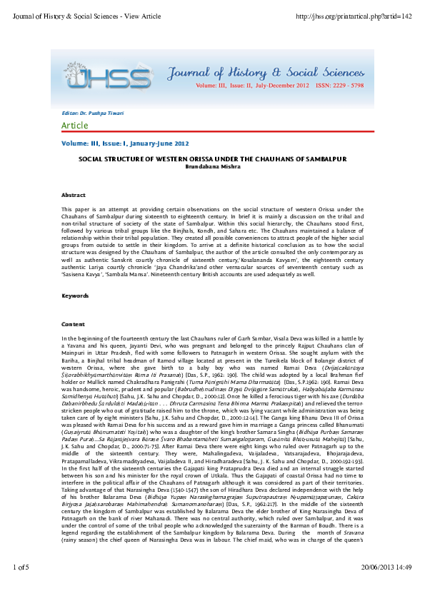 PDF) Social Structure Of Western Orissa Under The Chauhans Of