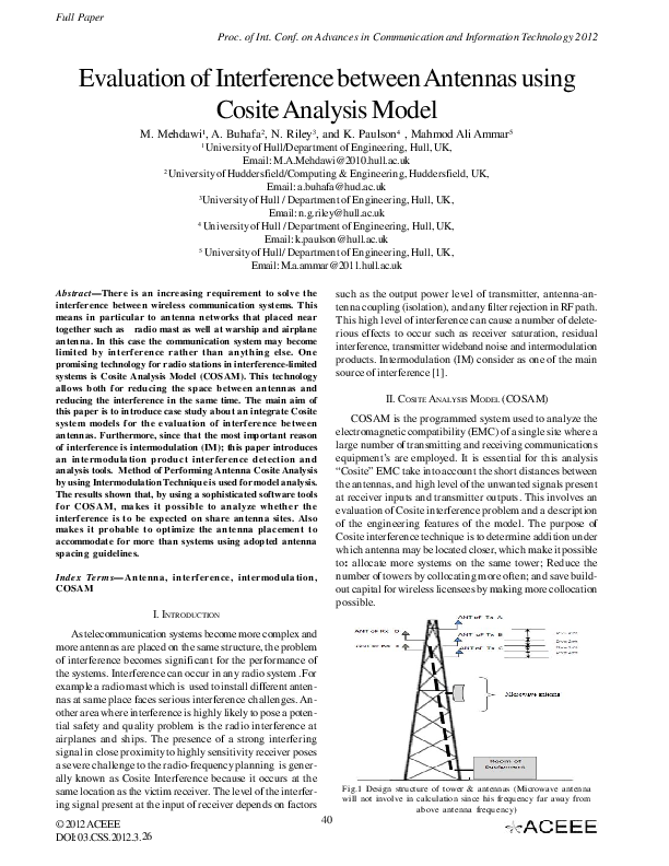 PDF) Evaluation of Interference between Antennas using