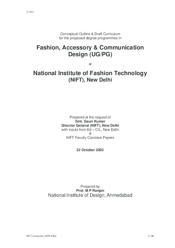 Pdf Nift Accessory Design Curriculum Proposal 2002 Ranjan Mp Academia Edu
