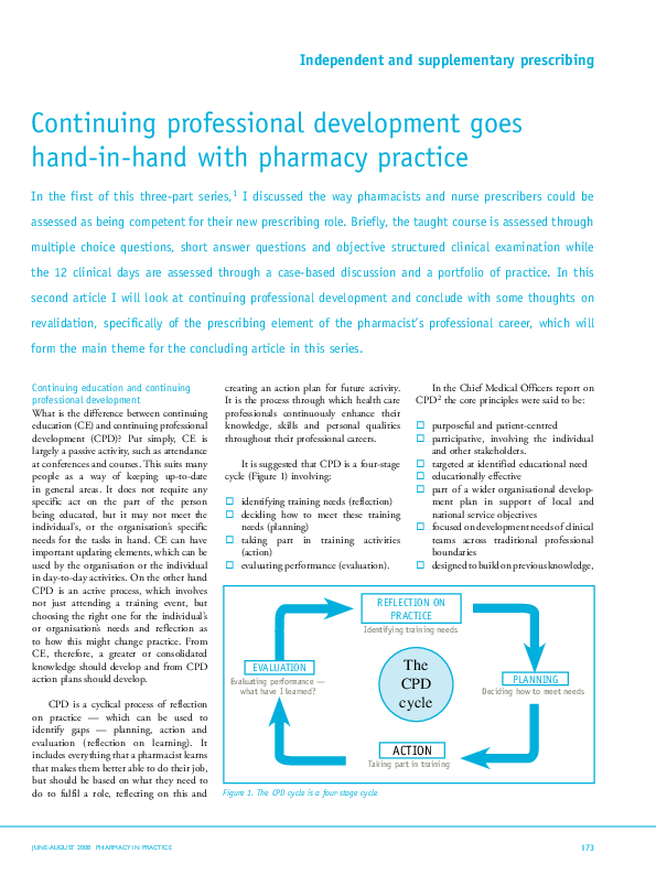 Pdf Continuing Professional Development Goes Hand In Hand
