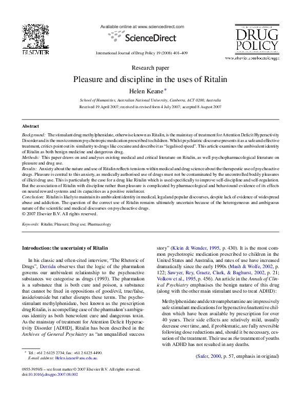 PDF) Ritalin, pleasure and discipline | Helen Keane - Academia edu