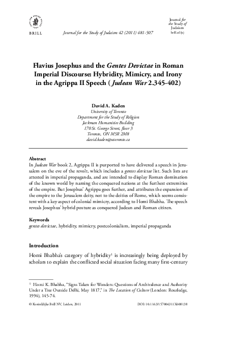 PDF) Flavius Josephus and the Gentes Devictae in Roman