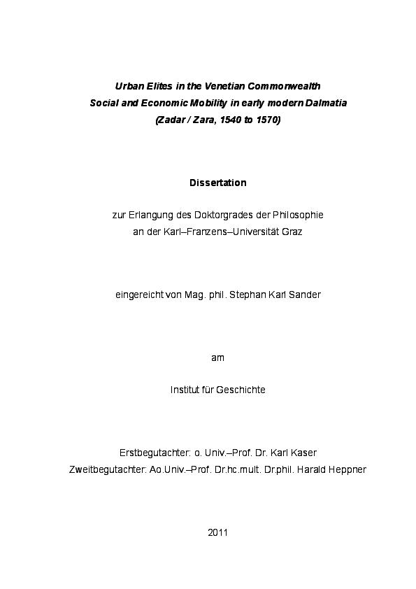 PDF) Urban Elites in the Venetian Commonwealth  Social and