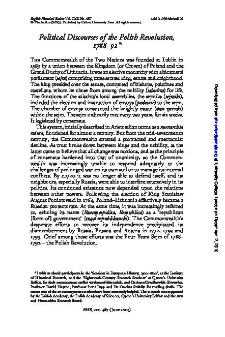 Pdf Political Discourses Of The Polish Revolution 1788