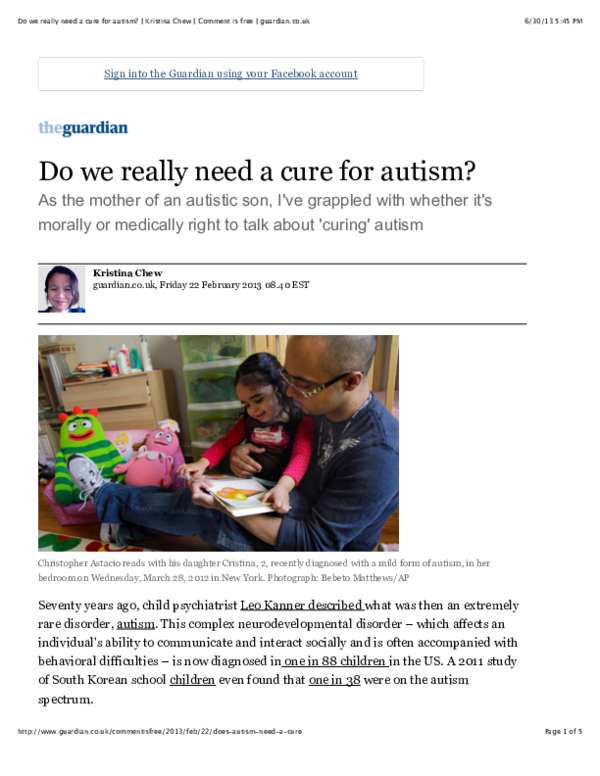 PDF) Do We Really Need a Cure For Autism? | Kristina Chew
