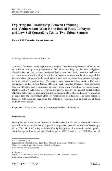(PDF) Exploring the Relationship Between Offending and