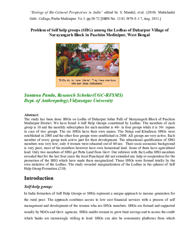 PDF) Problem of Self help groups (SHG) among the Lodhas of