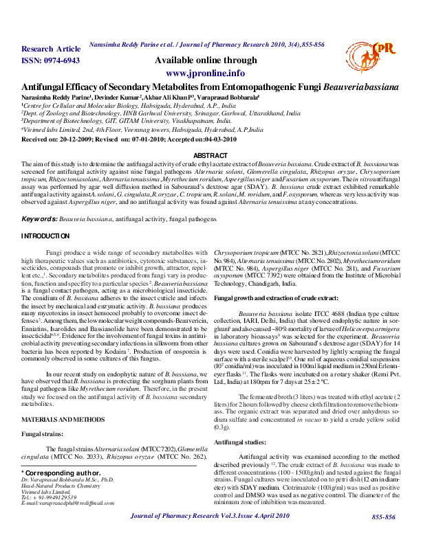 PDF) Antifungal Efficacy of Secondary Metabolites from