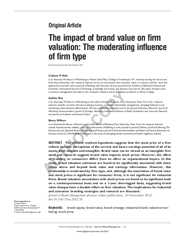 The Impact Of Brand Value On Firm Valuation The Moderating