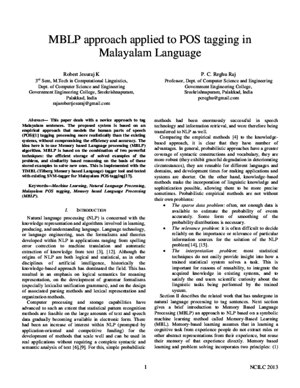 PDF) MBLP approach applied to POS tagging in Malayalam Language