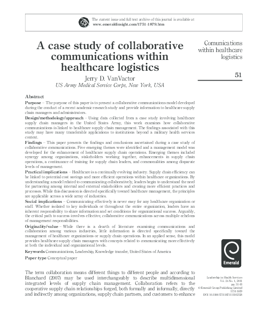 PDF) A case study of collaborative communications within