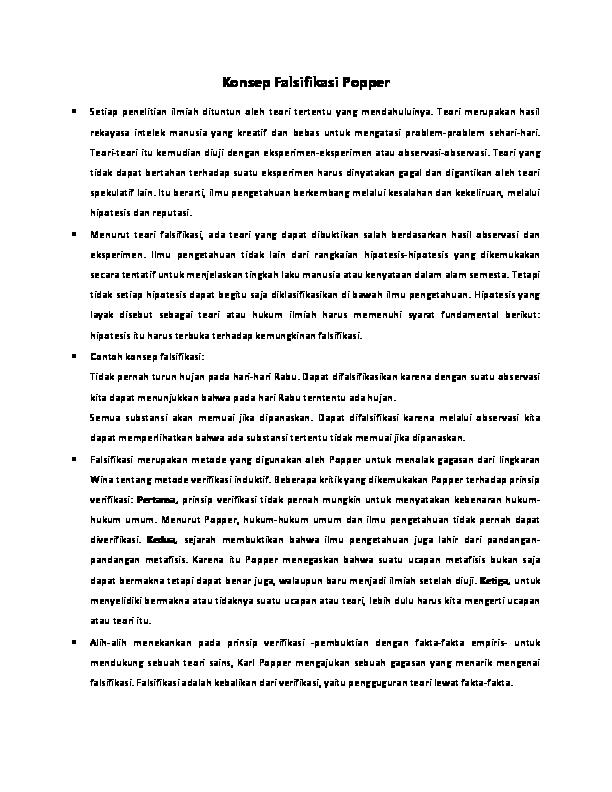 Konsep Falsifikasi Popper Anggraini Hidayat Academia Edu