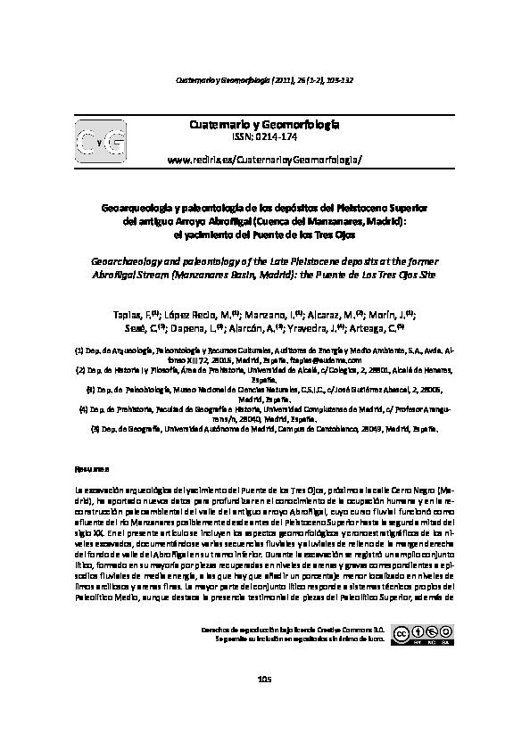Pdf Geoarqueología Y Paleontología De Los Depósitos Del