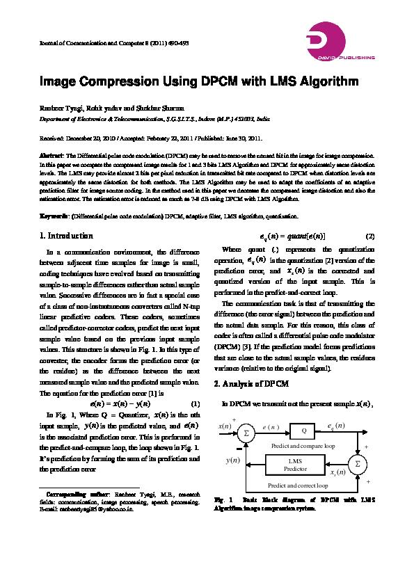PDF) Image Compression Using DPCM with LMS Algorithm