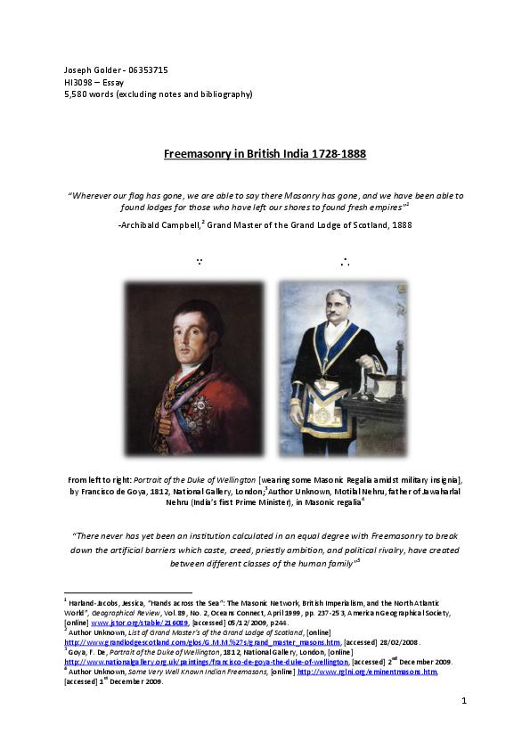 Freemasonry in British India 1728-1888 | Joseph F  G  Golder