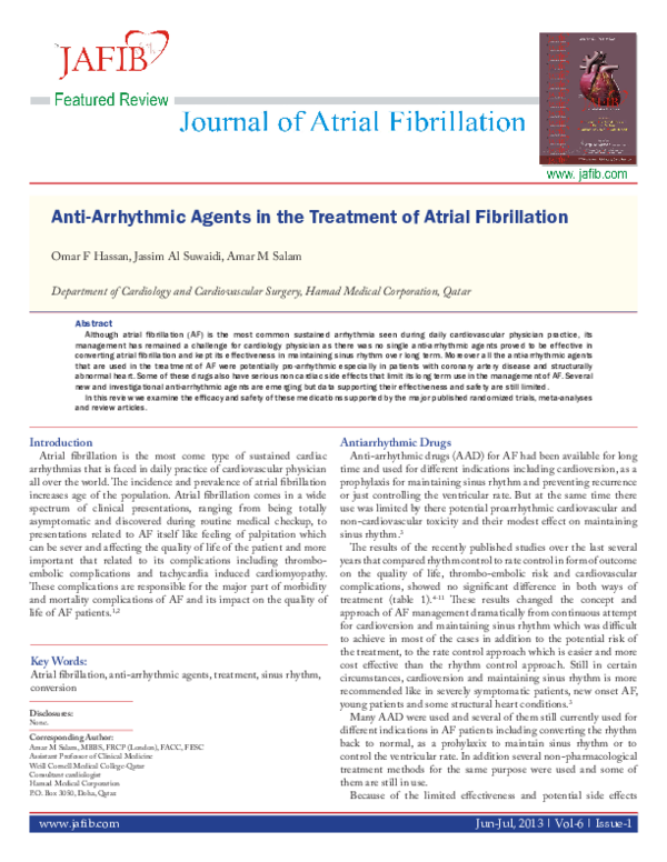 Anti-Arrhythmic Agents in the Treatment of Atrial