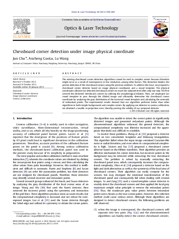 PDF) Chessboard corner detection under Image physical coordinate